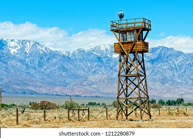 Watchtower to guard Japanese-Americans held as prisoners at WW-II detention camps in America.