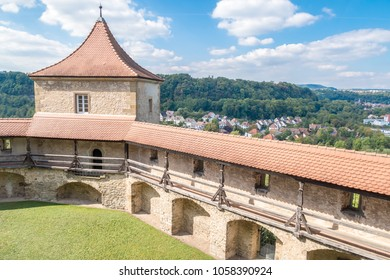 Watchtower and hallway of famous Comburg monastery above Schwaebisch-Hall city, Germany