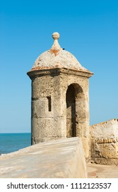 Watchtower on the old defensive wall, Cartagena de Indias, Colombia.