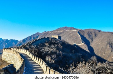 Watchtowers are densely distributed along the Great Wall of China in Mutianyu section.