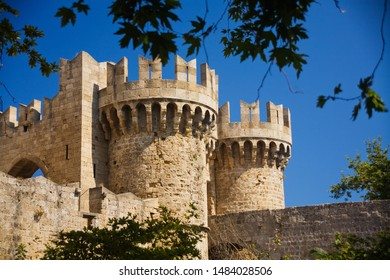 Watchtowers of The Palace of the Grand Master of the Knights of Rhodes, Greece. Built during Byzantine Empire.