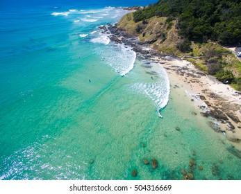 Wategoes beach at Byron Bay aerial view