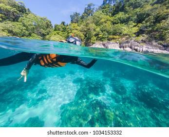 Water activities Snorkel the coral reefs, Andaman sea Koh Lipe , Satun province, Thailand
