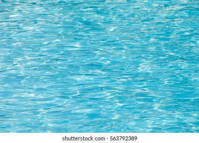 Water and air bubbles over blue background,sea wave ,Bokeh light background in the pool,Hotel swimming pool with sunny reflections.