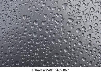 Water beading on a metallic surface