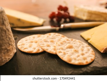 Water biscuits on a cheese course