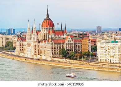 Water boat at Danube River with Hungarian Parliament Building, Hungary