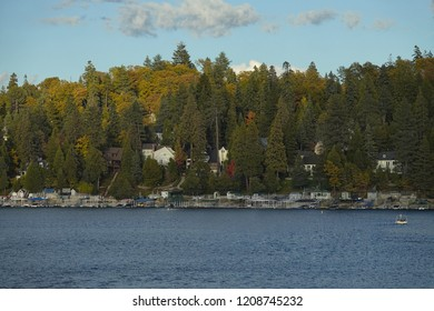 The water, boat docks, and homes of Lake Arrowhead in California's San Bernardino Mountains are shown in the late afternoon.