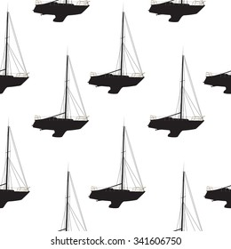 Water Boat, Sailboat Seamless Pattern Background. Illustration.