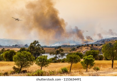 Water bomber planes tackle a fire along the side of a river.  There is a lot of smoke and some flames with three plane fire fighting the wildfire