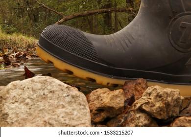 Water boot in long exposure creek in the fall