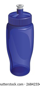 Water Bottle is an illustration of a reusable plastic water bottle with a open and close spout.
