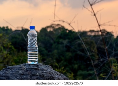 Water bottle with mountain background.
