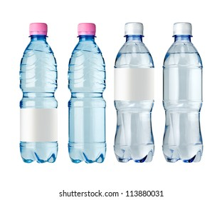 water bottles with blank label. Isolated on white