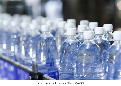 water bottles on production line