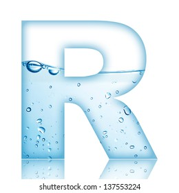 Water and water bubble alphabet letter. Letter R
