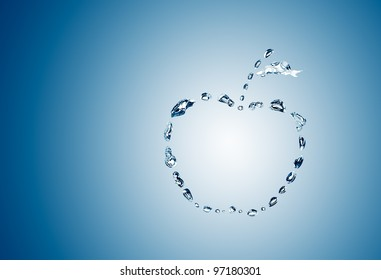 water bubbles in the shape of apple on blue background