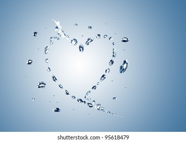 water bubbles in the shape of heart on white background
