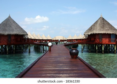 Water bungalows on Angaga, Maldives.
