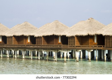 Water bungalows on the tropical island of Maldives