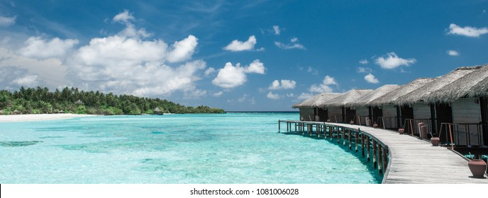 Water Bungalows Panorama on the Maldives