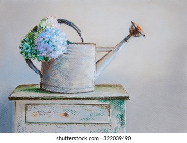 Water can with flowers. Original pastel painting