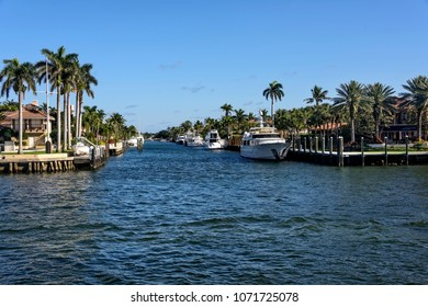 Water canal with boats and real estate in Fort Lauderdale, Florida