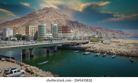 A water canal in the city of Mukalla, Hadramawt, southern Yemen. The canal is known as Khor Al Mukalla.