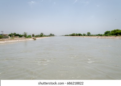 Water Canal linked to Jinnah Barrage Dam on Indus River, Mian Wali District, Punjab, Pakistan on 7th July 2017