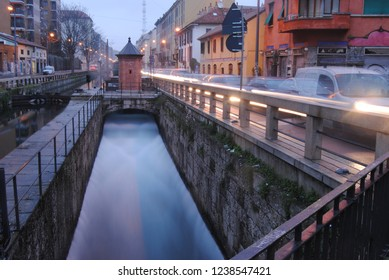 Water canal sluice in Milan, Italy