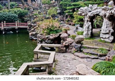 water canal in YuYuan Garden in Shanghai, China