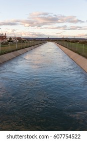 Water canalization for irrigation and waterfall for electricity production