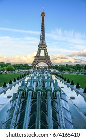 Water cannons of Gardens of Trocadero and Eiffel Tower with the EU stars, Paris, France