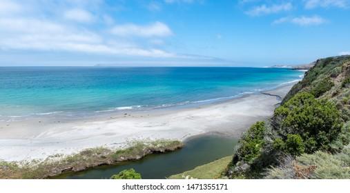 Water Canyon Beach, Coastal Road, near Ranch at Bechers Bay Pier on a sunny spring day, Santa Rosa Island, Channel Islands National Park, Ventura, California, USA