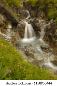 Water cascade in a small rocky gorge, long exposition, soft filter