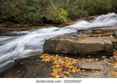Water cascades in a North Carolina Stream.