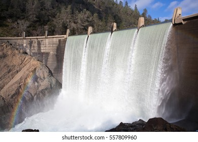 Water Cascades Over Lake Clementine Dam after January Storms in Northern California