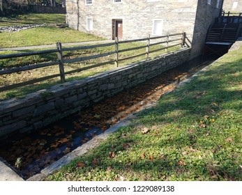 water channel or canal to old mill with rock walls