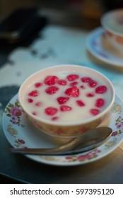 Water Chestnut with Syrub and Coconut Milk or we call Tub tim krob.Dessert street food.Thailand