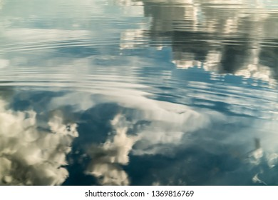 Water with clouds reflections and drops