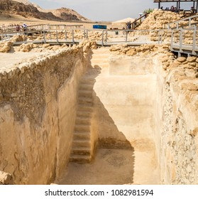 Water collecting cistern in Qumran National Park, where the dead sea scrolls were found and there was a settlement essenes in Judaean desert near Dead Sea, Israel
