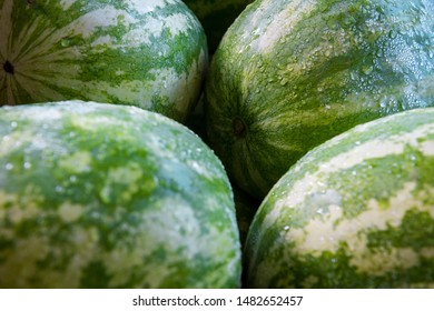 Water collecting on a stack of fresh green watermelon at a summer market