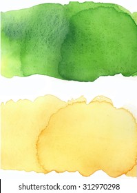 Water color fresh green and yellow on white background. Hand painting on paper