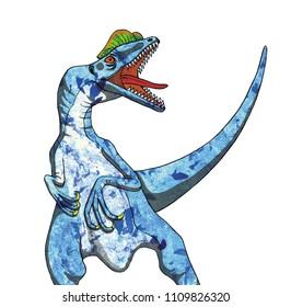 Water color hand drawn dinosaur, Dilophosaurus