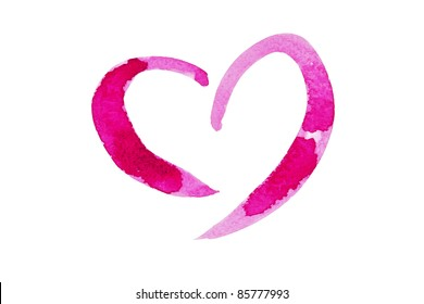 Water color paint Pink heart