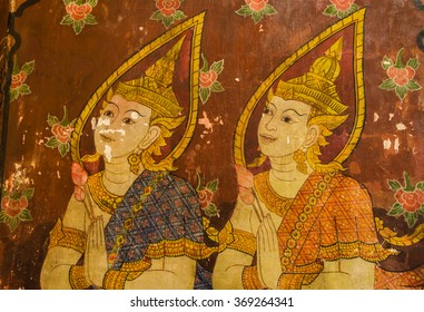 Water color painting of guardian angles on wall in ancient temple