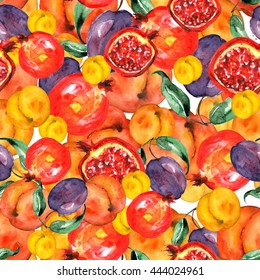 Water color pattern from a set of fruit - peach, apricot, pomegranate and plum. Slices of ripe fruits painted in watercolor. Use for decoration and design