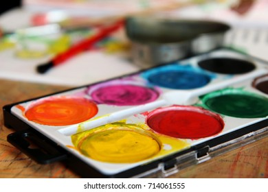 water color set for children on the table