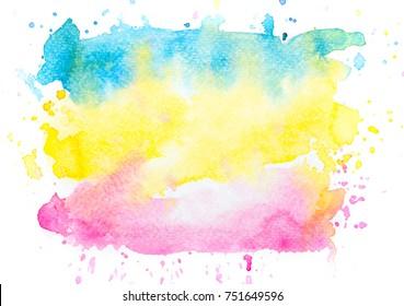 water colorful brush stains bright background.artistic hand painted splash