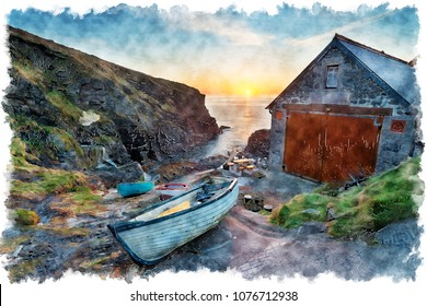 Water colour painting of a beautiful sunrise at Church Cove on the Lizard Pensinsula in Cornwall